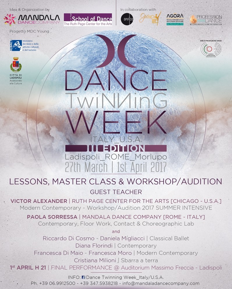 dance twinning week, the ruth page center for the art, chigaco, riccardo di cosmo, paola sorressa, daniela migliacci, victor alexander